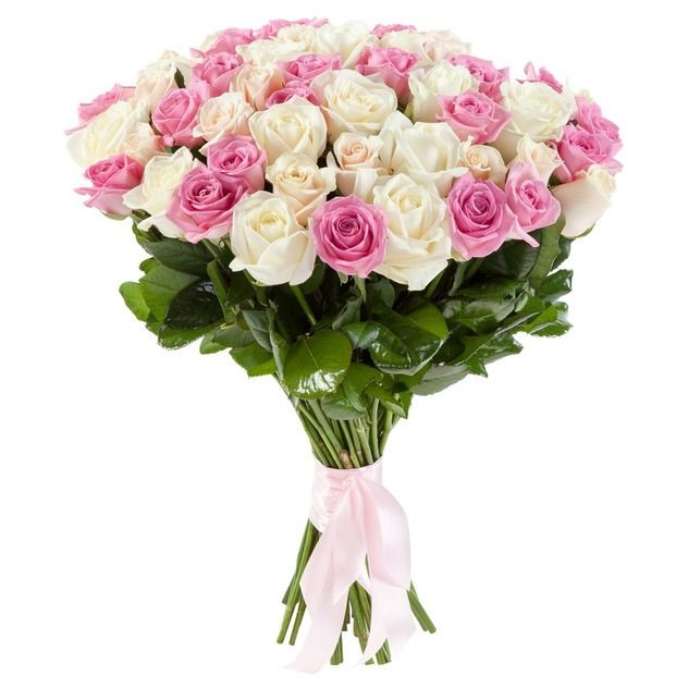Букет из 21 белой и розовой розы