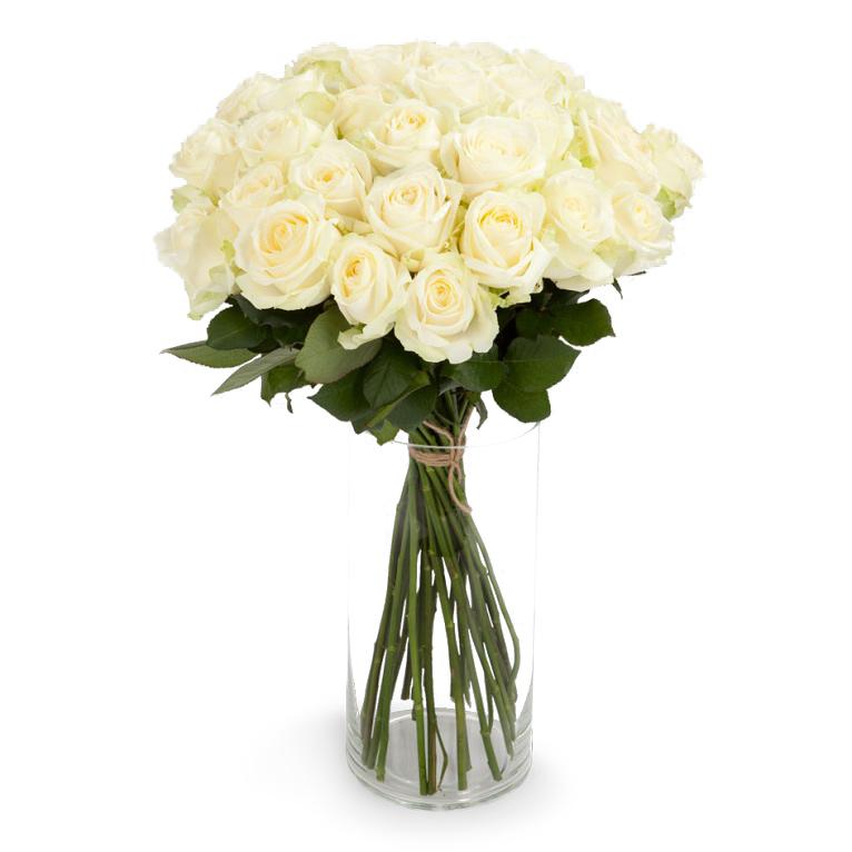 Букет из 21 белой розы премиум